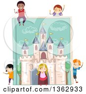 Clipart Of A Giant Fantasy Castle Book With Children Royalty Free Vector Illustration