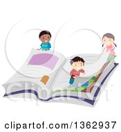 Clipart Of School Children Turning The Page Of A Giant Book Royalty Free Vector Illustration by BNP Design Studio