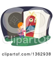 Clipart Of A Red Haired White Girl Entering A Magic Book Royalty Free Vector Illustration by BNP Design Studio
