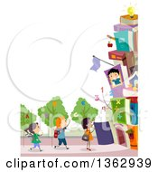 Clipart Of A Border Of School Children With A Book Building And Alphabet Trees Royalty Free Vector Illustration