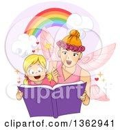 Clipart Of A Blond White Girl Reading A Book With A Fairy Royalty Free Vector Illustration by BNP Design Studio