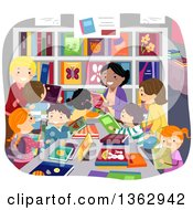 Clipart Of School Children And Parents At A Book Sale Royalty Free Vector Illustration