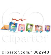 Clipart Of Children Riding A Book Train Royalty Free Vector Illustration