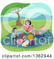 Clipart Of A Happy Black Female Teacher Reading To Students Outdoors Royalty Free Vector Illustration