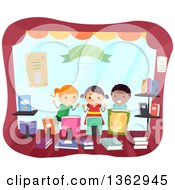 Clipart Of Happy School Children In A Book Store Window Royalty Free Vector Illustration