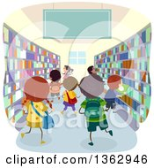 Clipart Of School Children In A Book Store Or Library Royalty Free Vector Illustration