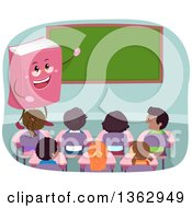 Clipart Of A Book Teacher Presenting A Chalkboard To A Class Room Of Students Royalty Free Vector Illustration