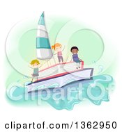 Clipart Of A Sailboat Made Of Books And Children On It Royalty Free Vector Illustration by BNP Design Studio