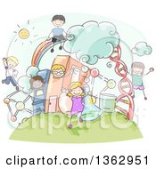 Clipart Of Sketched School Children Over Science Items And Books Royalty Free Vector Illustration