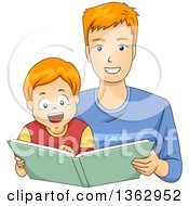 Clipart Of A Happy Red Haired White Boy Reading A Story Book With His Dad Royalty Free Vector Illustration