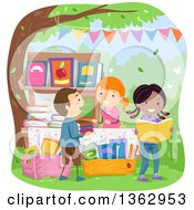Clipart Of Children Shopping For Books At A Yard Sale Royalty Free Vector Illustration