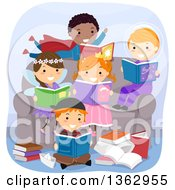 Clipart Of A Group Of Children In Costumes Sitting On And Around A Chair And Reading Fantasy Books Royalty Free Vector Illustration