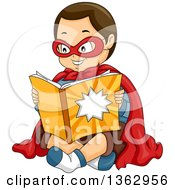 Happy Brunette Caucasian Boy In A Super Hero Costume Sitting And Reading A Comic Book