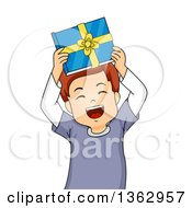 Clipart Of A Happy Brunette Caucasian Boy Holding Up A Book Gift And Cheering Royalty Free Vector Illustration