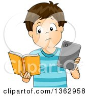 Clipart Of A Brunette White Boy Comparing A Tablet Or E Reader To A Book Royalty Free Vector Illustration