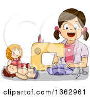 Happy Brunette White Girl Sewing Doll Clothes With A Machine