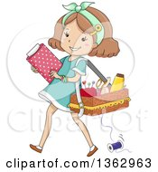Clipart Of A Happy Brunette White Girl Carrying Fabric And A Sewing Basket Royalty Free Vector Illustration