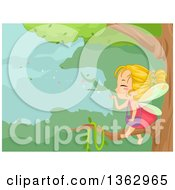 Clipart Of A Blond White Female Fairy Sitting On A Tree Branch And Blowing Magic Dust Into The Forest Royalty Free Vector Illustration by BNP Design Studio