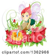 Clipart Of A Red Haired Female Fairy Watering Flowers In A Garden Royalty Free Vector Illustration