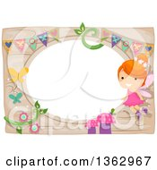 Clipart Of A Red Haired White Fairy Girl Over A Whimsical Garden Frame Royalty Free Vector Illustration by BNP Design Studio