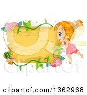Clipart Of A Red Haired Female Fairy Girl With A Flora Vine And Beetle Sign Royalty Free Vector Illustration