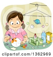 Clipart Of A Happy Brunette White Girl Painting A Solar System Model Project Royalty Free Vector Illustration