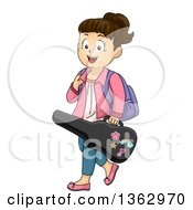 Clipart Of A Happy Brunette White School Girl Carrying A Violin Case Royalty Free Vector Illustration by BNP Design Studio