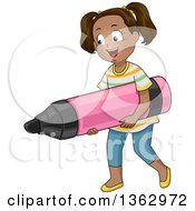 Clipart Of A Happy Black School Girl Carrying A Giant Marker Royalty Free Vector Illustration
