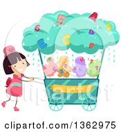 Clipart Of A Happy Brunette White Girl Pushing A Cotton Candy Alphabet And Number Cart Royalty Free Vector Illustration