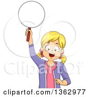 Clipart Of A Happy Blond White Girl Holding Up A Paddle Ready To Answer A Question Royalty Free Vector Illustration by BNP Design Studio