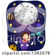 Clipart Of A Brunette White Boy In A Moon Hot Air Balloon Looking Through A Telescope In Outer Space Royalty Free Vector Illustration by BNP Design Studio
