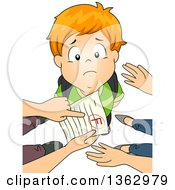 Clipart Of A Sad Red Haired White School Boy Looking Up As His Parents Point Out A Grade Of F Royalty Free Vector Illustration by BNP Design Studio