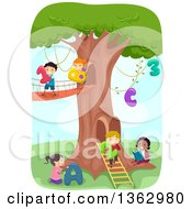 Clipart Of School Children With Numbers And Alphabet Letters At A Tree House Royalty Free Vector Illustration by BNP Design Studio