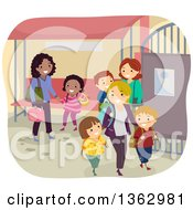 Clipart Of Mothers Picking Up Their School Children At A Gate Royalty Free Vector Illustration