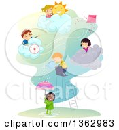 Clipart Of Children Playing In Different Weather Conditions Royalty Free Vector Illustration by BNP Design Studio