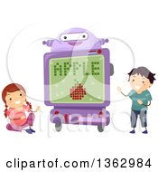 Clipart Of A Robot Teaching School Children The Alphabet Royalty Free Vector Illustration by BNP Design Studio