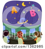 Clipart Of School Children In A Space Ship Viewing Alphabet Letter Planets Royalty Free Vector Illustration
