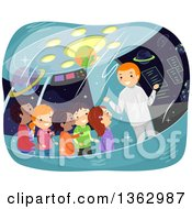 Clipart Of A Man Giving A Tour To School Children On A Space Ship Royalty Free Vector Illustration