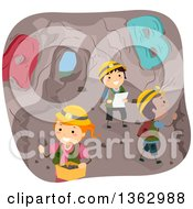 Clipart Of School Children In A Cave With Alphabet Letters Royalty Free Vector Illustration by BNP Design Studio