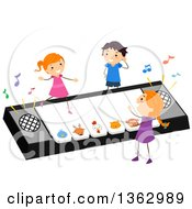 Clipart Of Children Playing On A Giant Keyboard That Plays Animal Sounds Royalty Free Vector Illustration