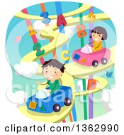 School Children Driving Cars On A Road In The Sky With Alphabet Letters And Numbers