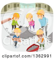 Clipart Of A Teacher And Children Doing Construction Community Service Royalty Free Vector Illustration