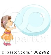 Brunette White Toddler Girl Blowing A Giant Bubble