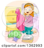 Clipart Of A Happy Red Haired White Girl Folding And Putting Away Her Laundry Royalty Free Vector Illustration