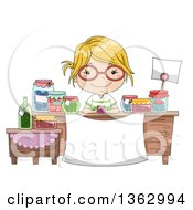Clipart Of A Happy Blond White Girl Wearing Glasses And Selling Preserved Foods Royalty Free Vector Illustration