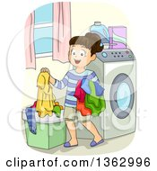 Clipart Of A Happy Brunette White Girl Putting Dirty Laundry In A Hamper Royalty Free Vector Illustration