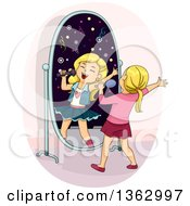 Clipart Of A Blond White Girl Singing In Front Of A Mirror Imagining She Is Famous Royalty Free Vector Illustration