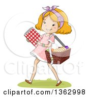 Happy Strawberry Blond White Girl Carrying A Blanket And Picnic Basket