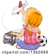 Clipart Of A Rear View Of A Red Haired White Girl Sitting On The Floor And Playing With Boy Toys Royalty Free Vector Illustration