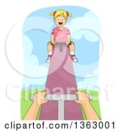 Clipart Of A Happy Blond White Girl On The Upwards Part Of A See Saw Royalty Free Vector Illustration by BNP Design Studio